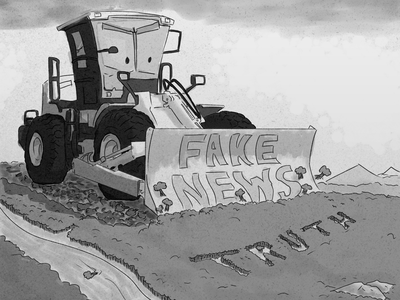 Fake News V.S. Truth editorial illustration editorial cartoon black and white children book illustration