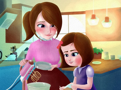 Mother's Training digital painting children book illustration