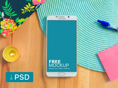 Free mockup: Galaxy Note With Two Yellow Candles samsung free high-resolution mockup mock-up photorealistic photoshop psd workspace android