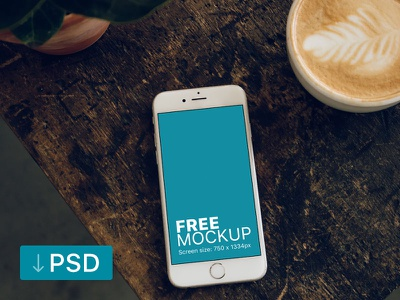 White iPhone Mockup with Coffee Mug and Vintage Wooden Table apple free high-resolution mockup mock-up photorealistic photoshop psd workspace iphone