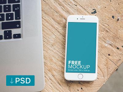 White iPhone Mockup on Carpenter Desk apple free high-resolution mockup mock-up photorealistic photoshop psd workspace iphone