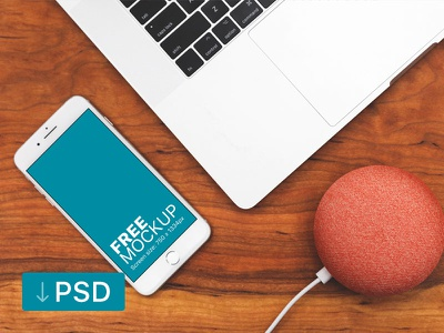 iPhone Mockup and Macbook On A Wooden Desk apple free high-resolution mockup mock-up photorealistic photoshop psd workspace iphone