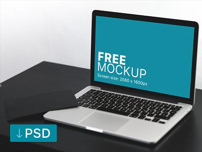 Macbook Pro On Black Table Mockup apple free high-resolution mockup mock-up photorealistic photoshop psd workspace macbook