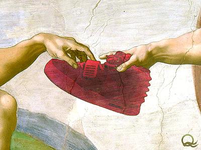 Detail of the Michelangeleezy michelangelo yeezy yeezus kanye west adam god creation of adam michelangelo buonarroti