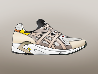 Wood Wood x ASICS Gel DS sneakers footwear collaboration mesh photoshop illustrator illustration gel ds asics w.w. wood wood