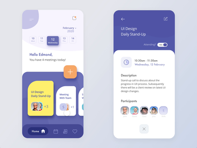 Daily Meeting Calendar App daily meeting card business time violet interaction illustration ux ui mobile ui white mobile app calendar meeting ios android