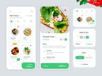 Online Food Ordering App design stayhome icons white veg online shopping online food food green mobile app vector mobile card mobile ui ios android vibrant illustration ux ui