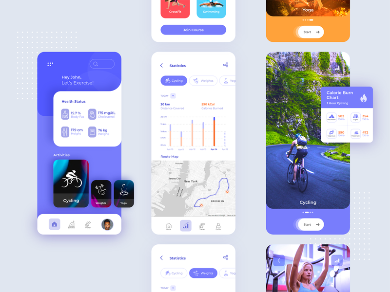 Fitness App images screens violet blue fitness exercise cycling card illustration mobile app mobile ui ios design android vibrant ux ui