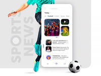 News App interaction card sports news news grey white vibrant ux ui mobile ui mobile app quiz illustration football sports video animation ios android