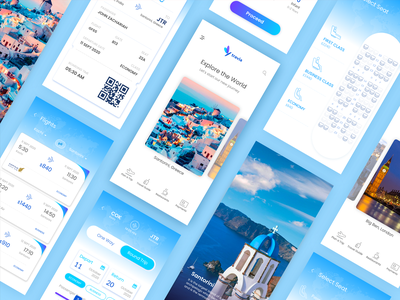 Flight booking app trip planner trip world explore tour blue and white blue flight booking travel illustration mobile app card mobile ui design ios android vibrant ux ui