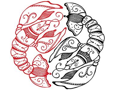 Crawfish Love line drawing illustration letterpress