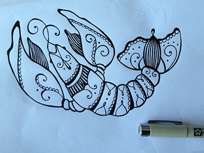 Crawfishdrawing drawing ink