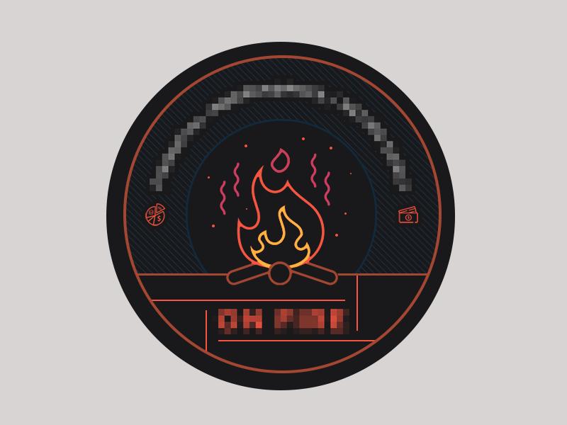 Flames flames fire vibrant badge