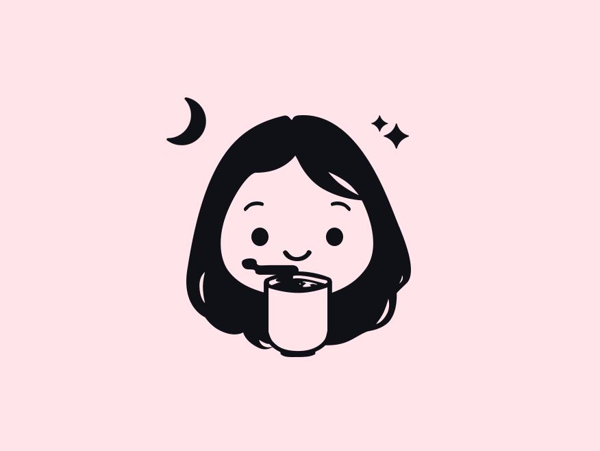 Tea-drinking Avatar illustration stars avatar design profile character moon tea avatar