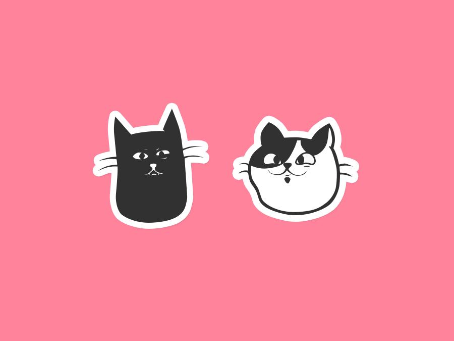 Cats illustration sticker kitten cat art cat cats