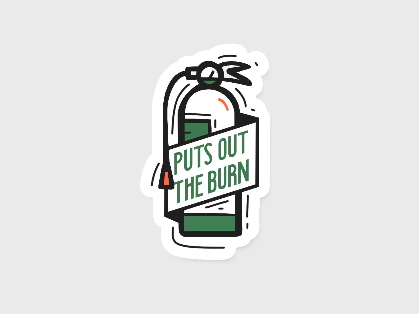 Lotion Sticker burn fire extinguisher sticker icon badge design