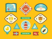 Baby Badges of Merit badges illustrations wes anderson baby baby shower