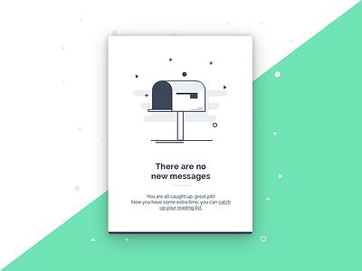 No new messages 📭 secret clean mailbox messages mail illustration design empty states