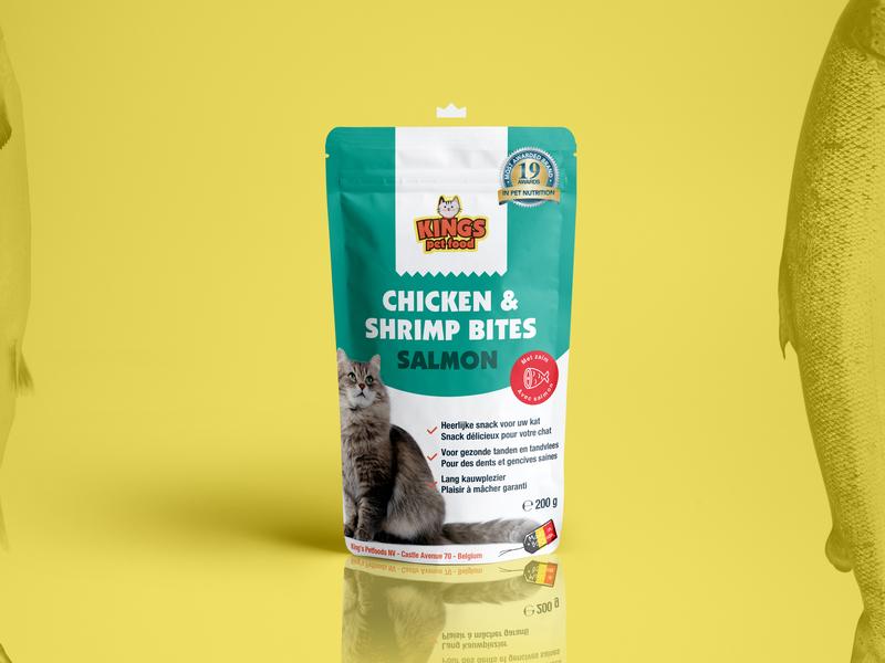 Kings Pet Foods 👑🐱 branding logo belgium salmon clean package package mockup mockup package design pet food pets design