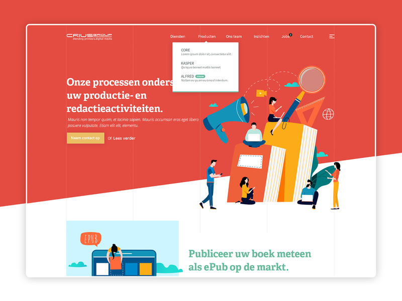 Crius Group - Print & Digital Media 📚 flatdesign editorial homepage design