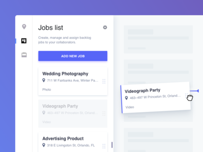 Jobs List Cards manage list jobs elevation ui dashboard interface drag and drop cards