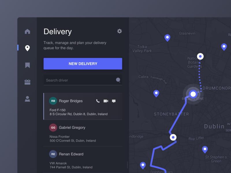 Map Application user interface map route location pin dark ui list dashboard desktop application