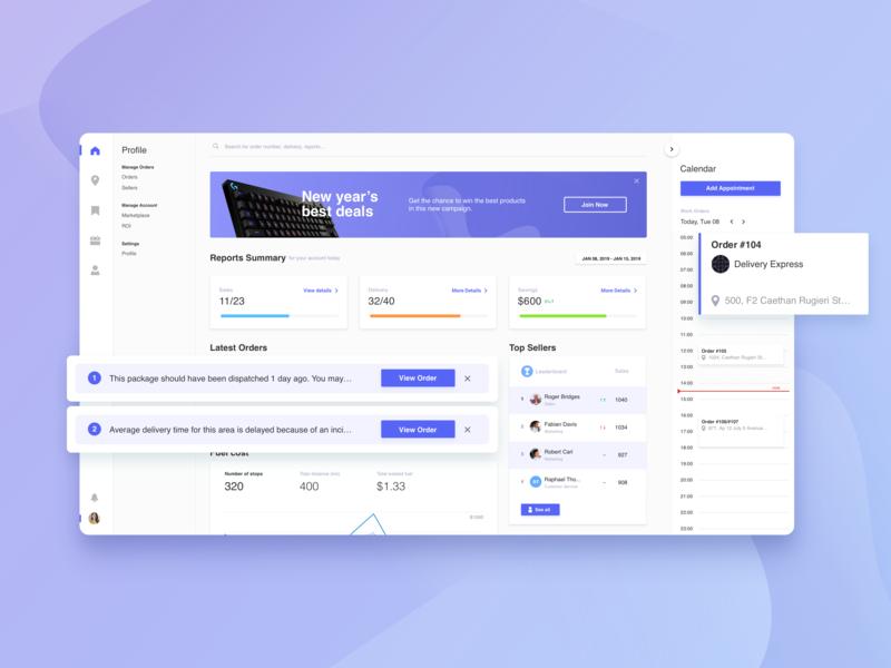 Dashboard Interface calendar interface color statistics profile marketplace ui dashboard