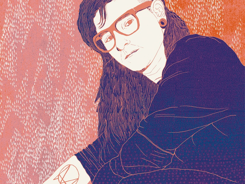Skrillex Feature music line drawing pen portrait magazine skrillex illustration