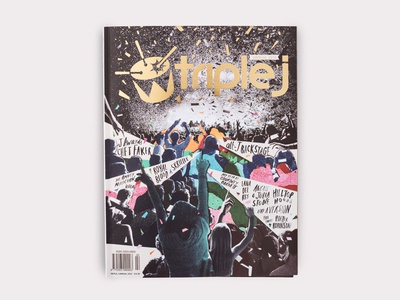 triple j Annual — 2014 Cover cover magazine illustration triple j art direction expressive graphic design hand lettering brush lettering illustrative collage