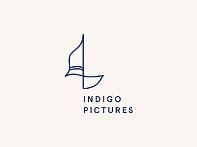 Indigo Pictures Logo film vector icon business symbol branding graphic design line clean identity brand logo