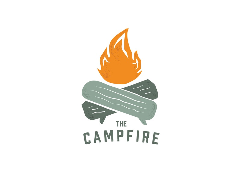 The Campfire Logo Design fireside chat camp camping flame fire branding illustration design texture logo