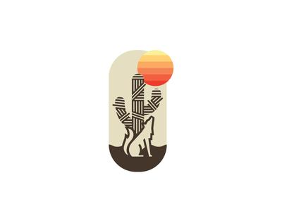 Desert Dog coyote wolf sticker shirt badge sun desert cactus dog