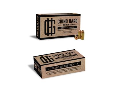 Grind Hard Ammunition austin weiss grind hard usa monogram logo packaging guns ammo