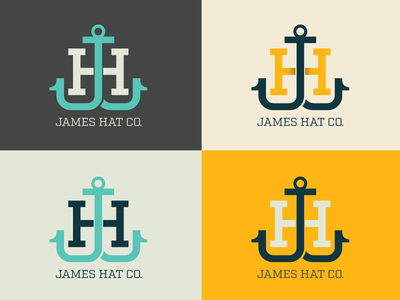 James Hat Co logo monogram hat h j jh james anchor