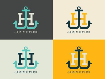 James Hat Co logo monogram hat h j jh james anchor