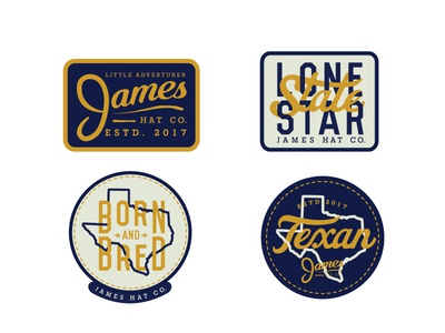 James Hat Company stickers lone star texas badge hunting badge patches hats