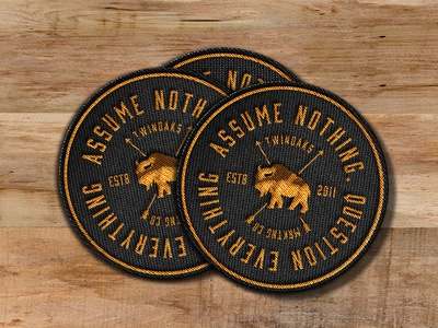 Assume Nothing buffalo bison badge hunting typography label sticker badge patch
