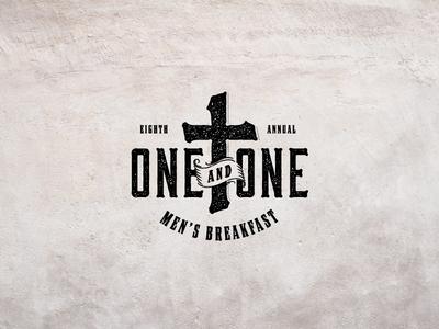 One & One Logo dallas frisco texas logo design logo type typeography texture breakfast men bible church cross one