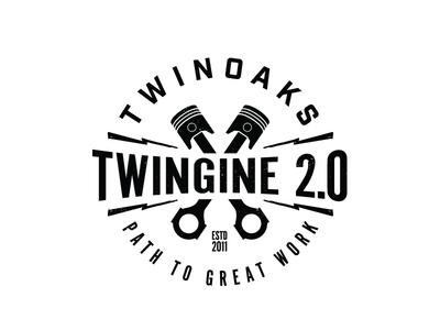 Twingine Logo illustration typography texture patch type design badge logo