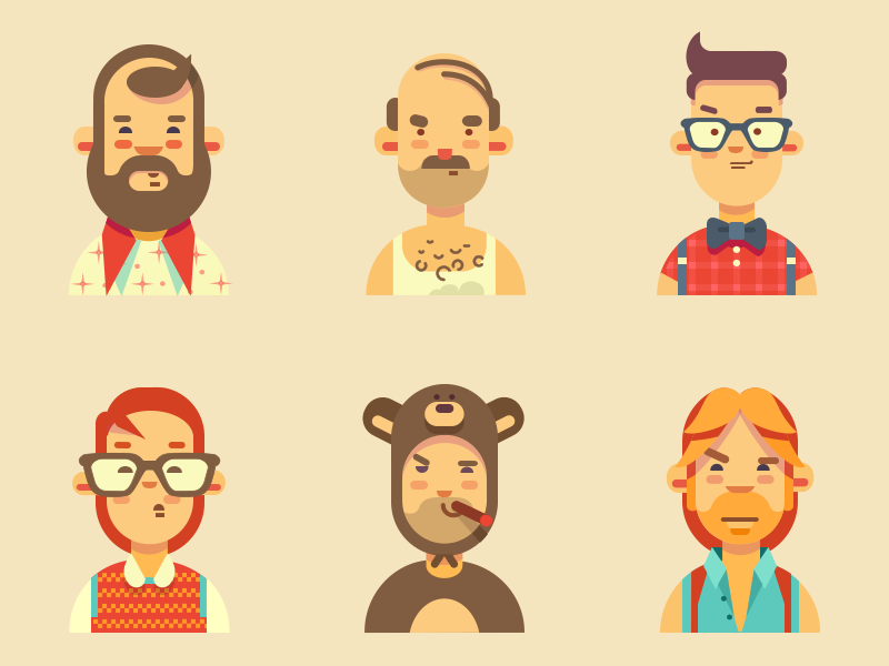Guys bear chuck norris hipster flat character user illustration avatars people vector icons