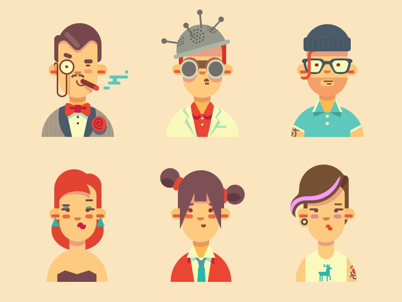 Guys part 2 avatars illustration vector people characters guy hipster user icon