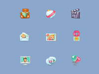 Icons for a babycare website.