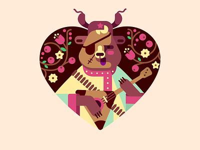 From Russia with love character heart ushanka flowers balalaika ussr illustration flat russia bear