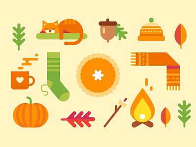 Autumn flat fire scarf pumpkin leafs sock thanksgiving illustration icon cat fall autumn