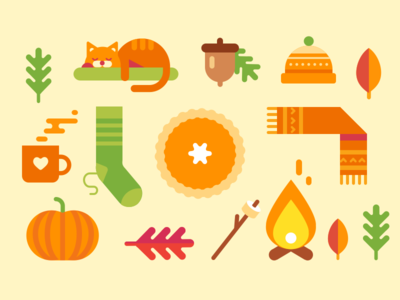 Autumn flat fire scarf pumpkin leafs sock thanksgiving illustration icon cat fall autumn