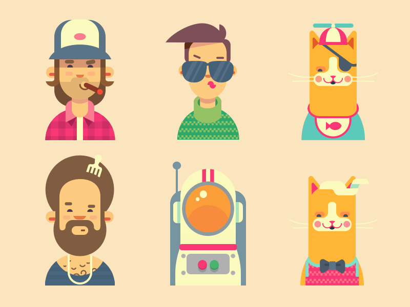 People and Cats of San Francisco redneck spaceman illustration face person flat character icon cat hipster profile avatar