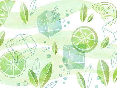 Mojito Pattern  mint ice leaves alcohol drink illustration pattern mojito