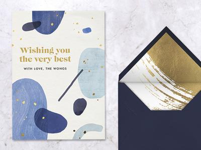 Bluet minimal art painted greeting card modern art