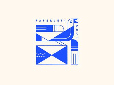 Paperless Post Sweatshirt Design illustration lettering design emblem art deco envelope mail bird logo