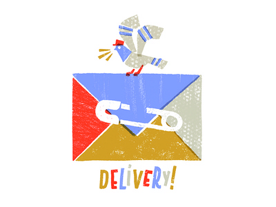 Delivery! lettering illustration pigeon stork mail diaper baby